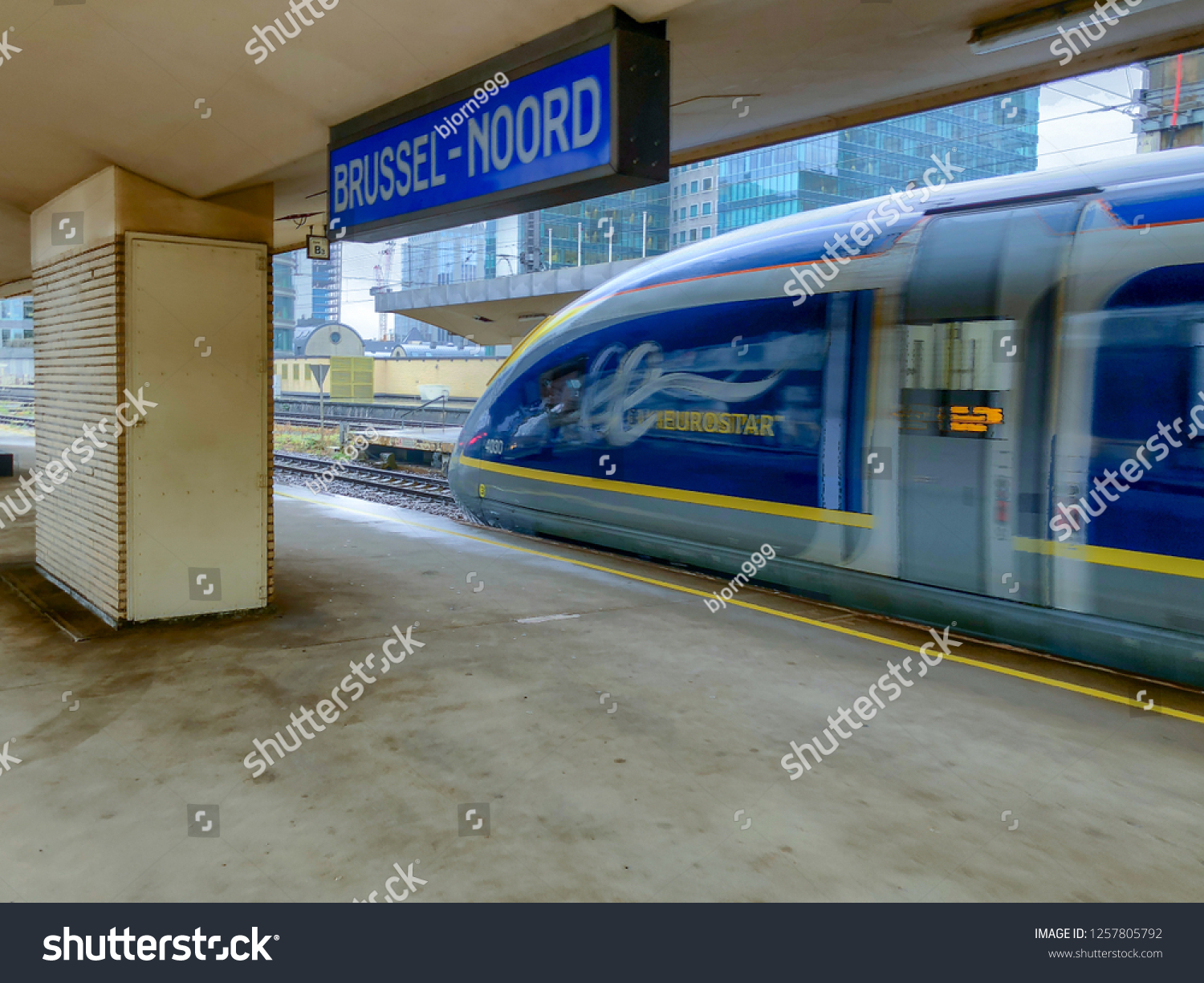 Brussels, Belgium - October 30, 2018: The E320 Eurostar International High Speed passengers Train waiting in the Brussels North railway station