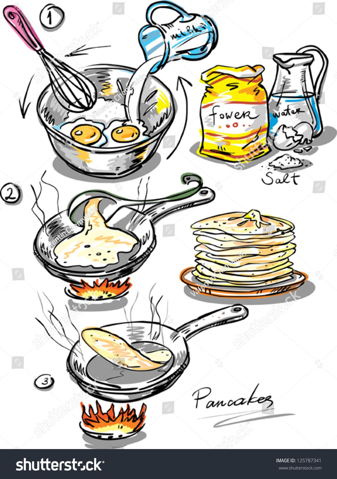 Pancakes Method Preparation Thin Pancake Made Stock Vector