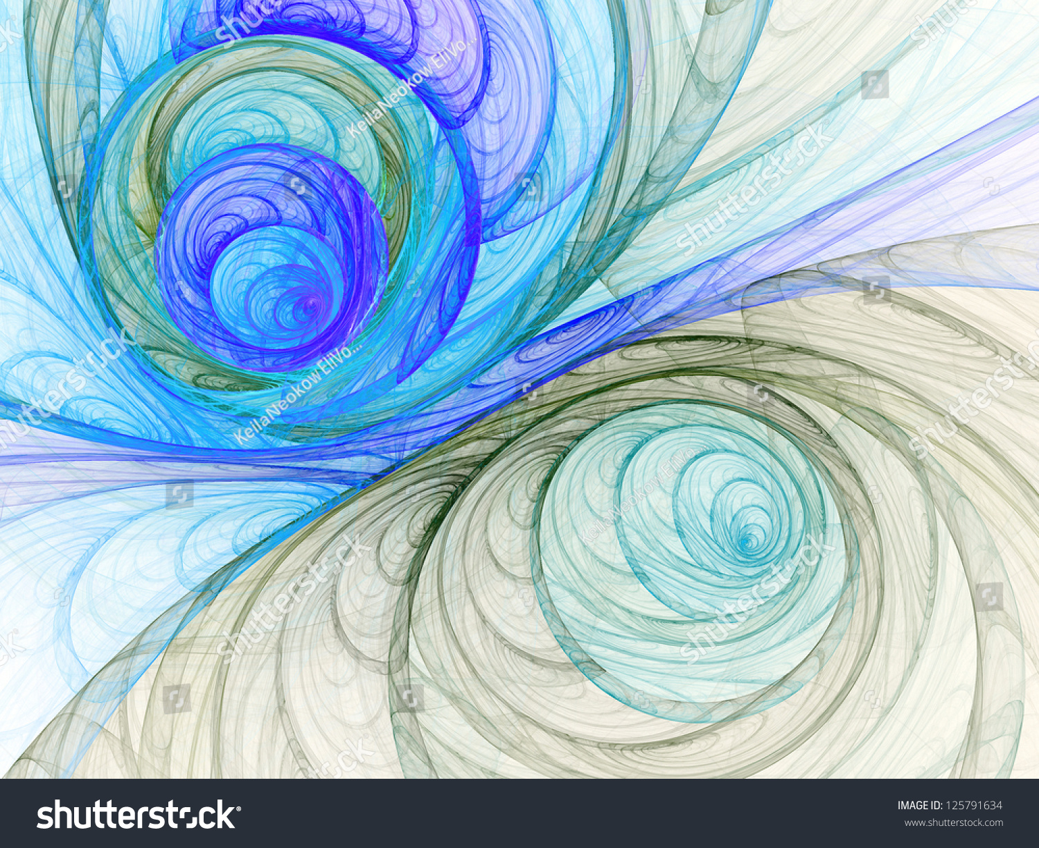 Abstract Line Art Design : Water themed abstract lines digital fractal stock