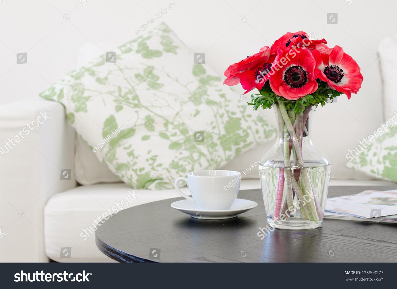Vase Red Flowers Modern White Living Stock Photo (Royalty Free ...