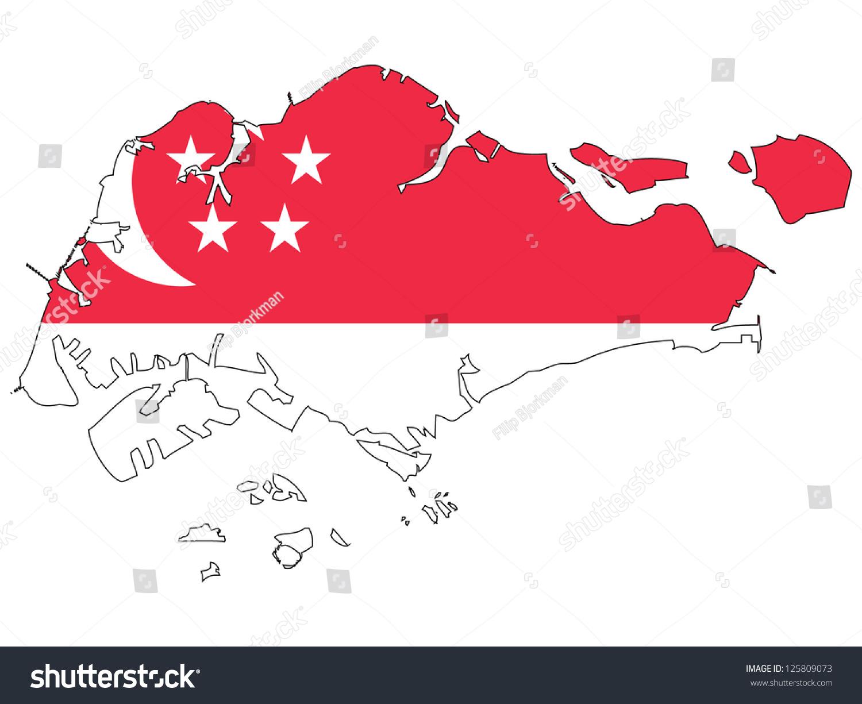 Singapore Vector Map Flag Inside Stock Vector 125809073 Shutterstock