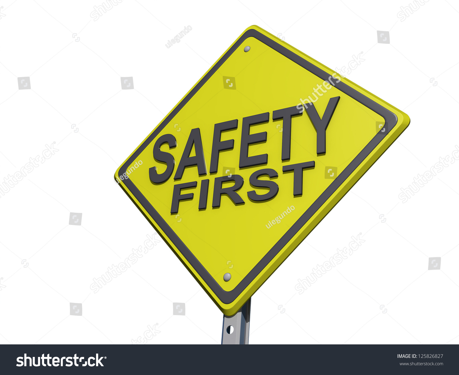 a yield road sign with safety first on a white background. Black Bedroom Furniture Sets. Home Design Ideas