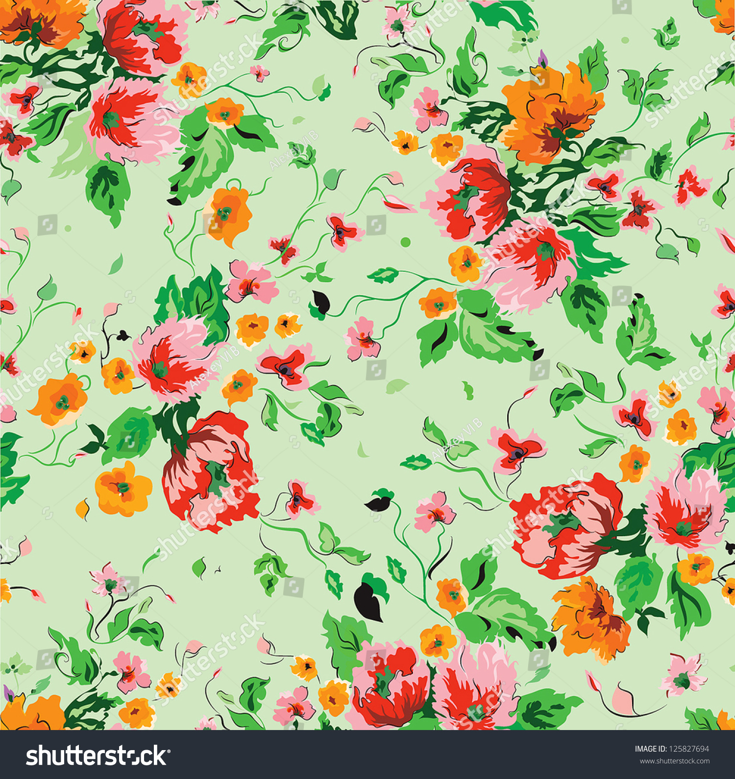 Stylish Beautiful Bright Floral Pattern Vector Stock ...