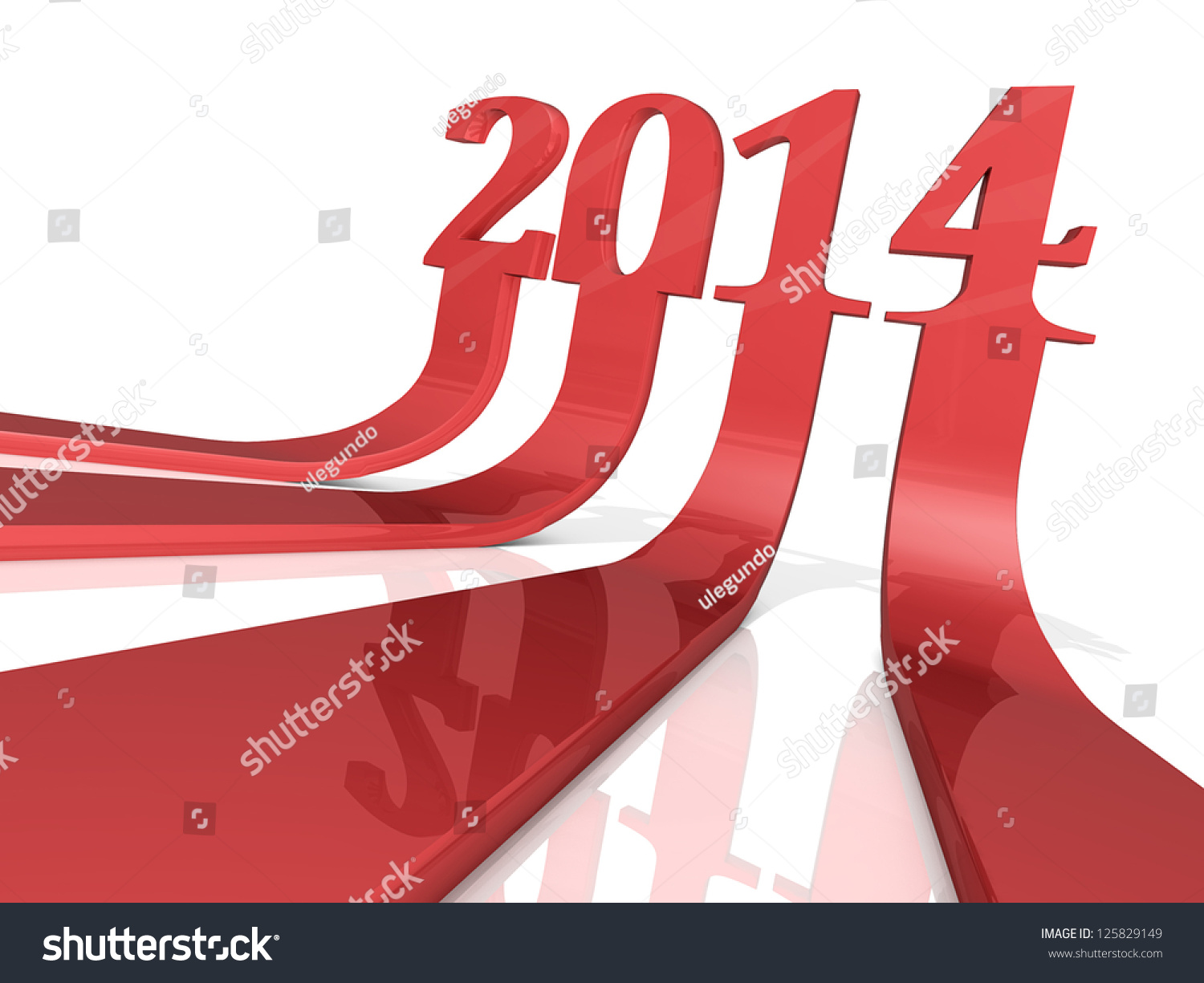 The Numbers  U0026quot 2014 U0026quot  As Three Dimensional Arrows  Stock