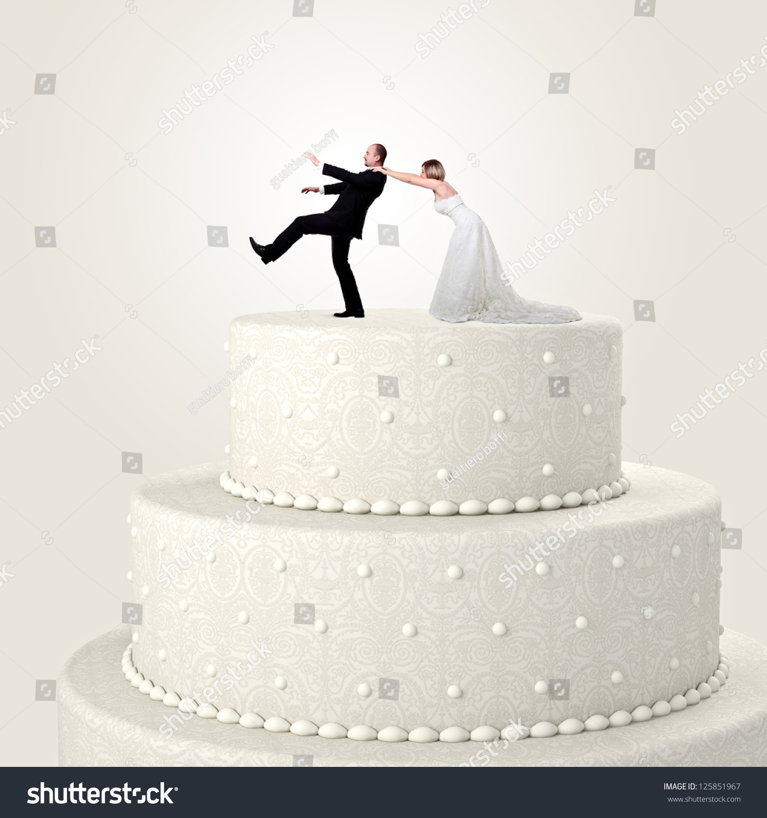 cutting of wedding cake symbolism 3d wedding cake situation stock photo 13293