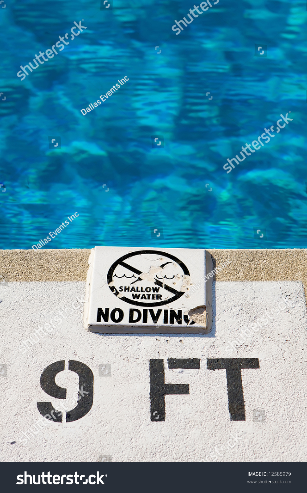 No diving in the deep end of the swimming pool stock photo - How deep is the average swimming pool ...