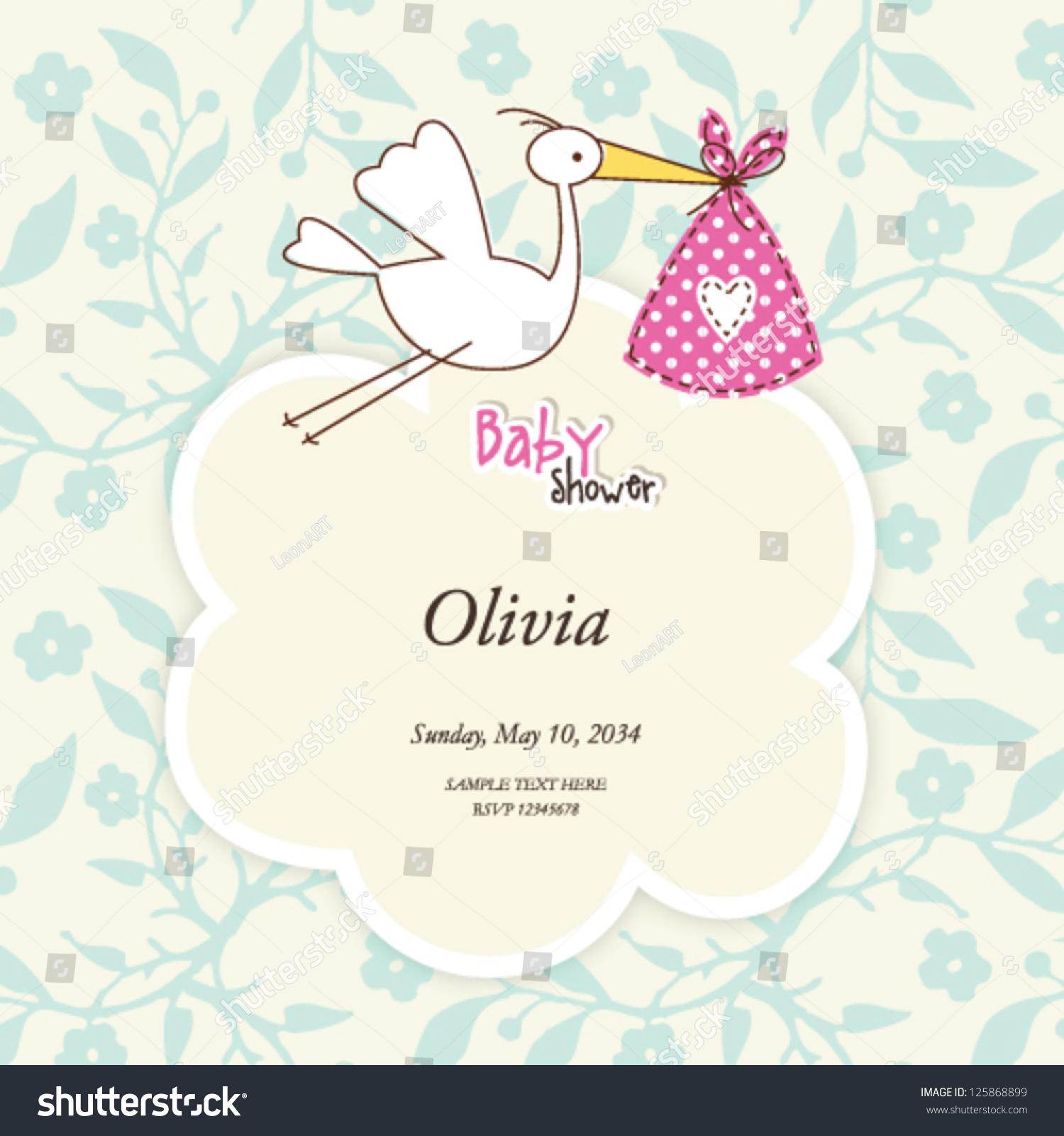 Baby Girl Shower Card cute Invitation Stork Vector 125868899 – Stork Party Invites