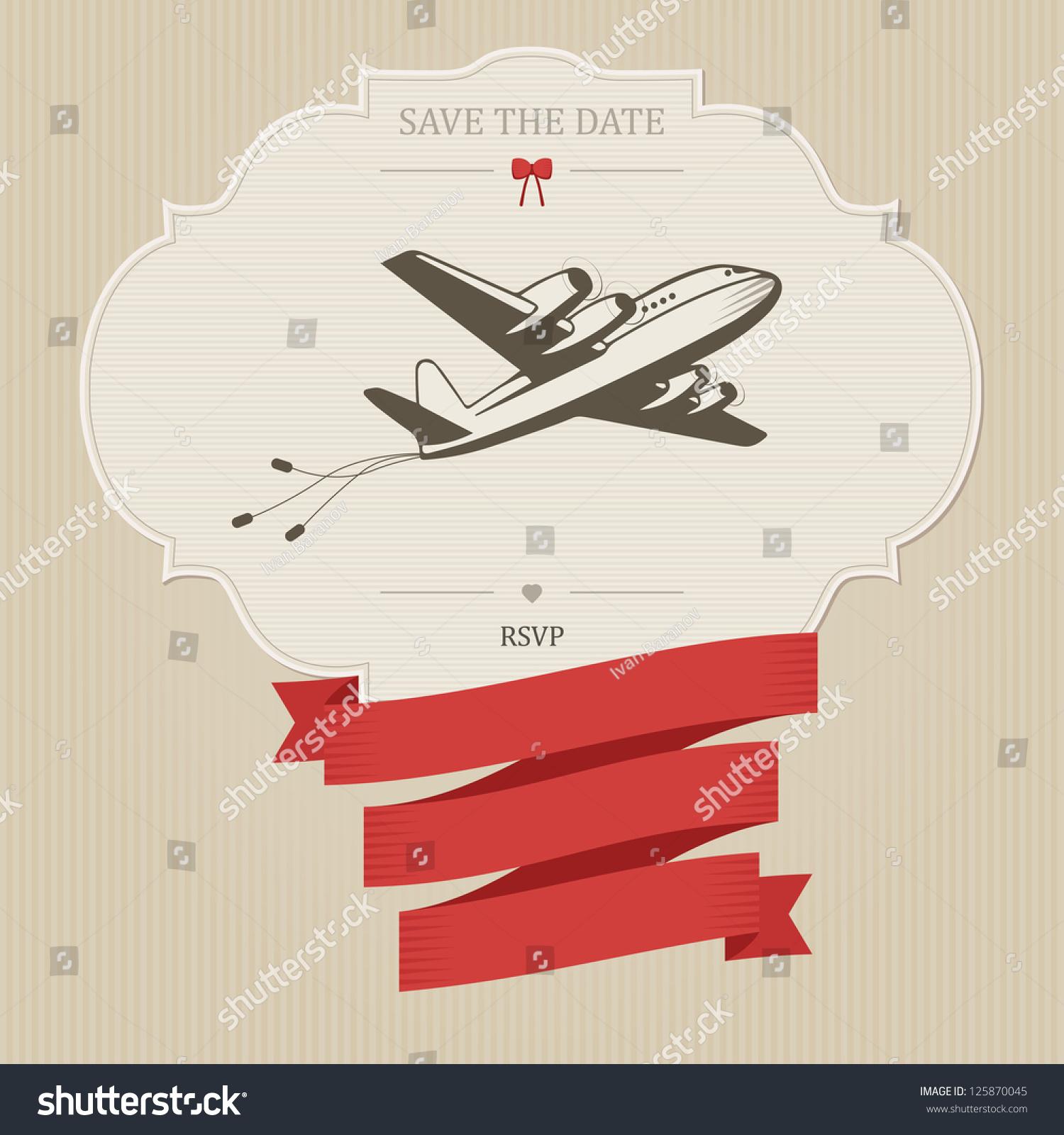 Funny Vintage Wedding Invitation Retro Aircraft Stock Illustration ...