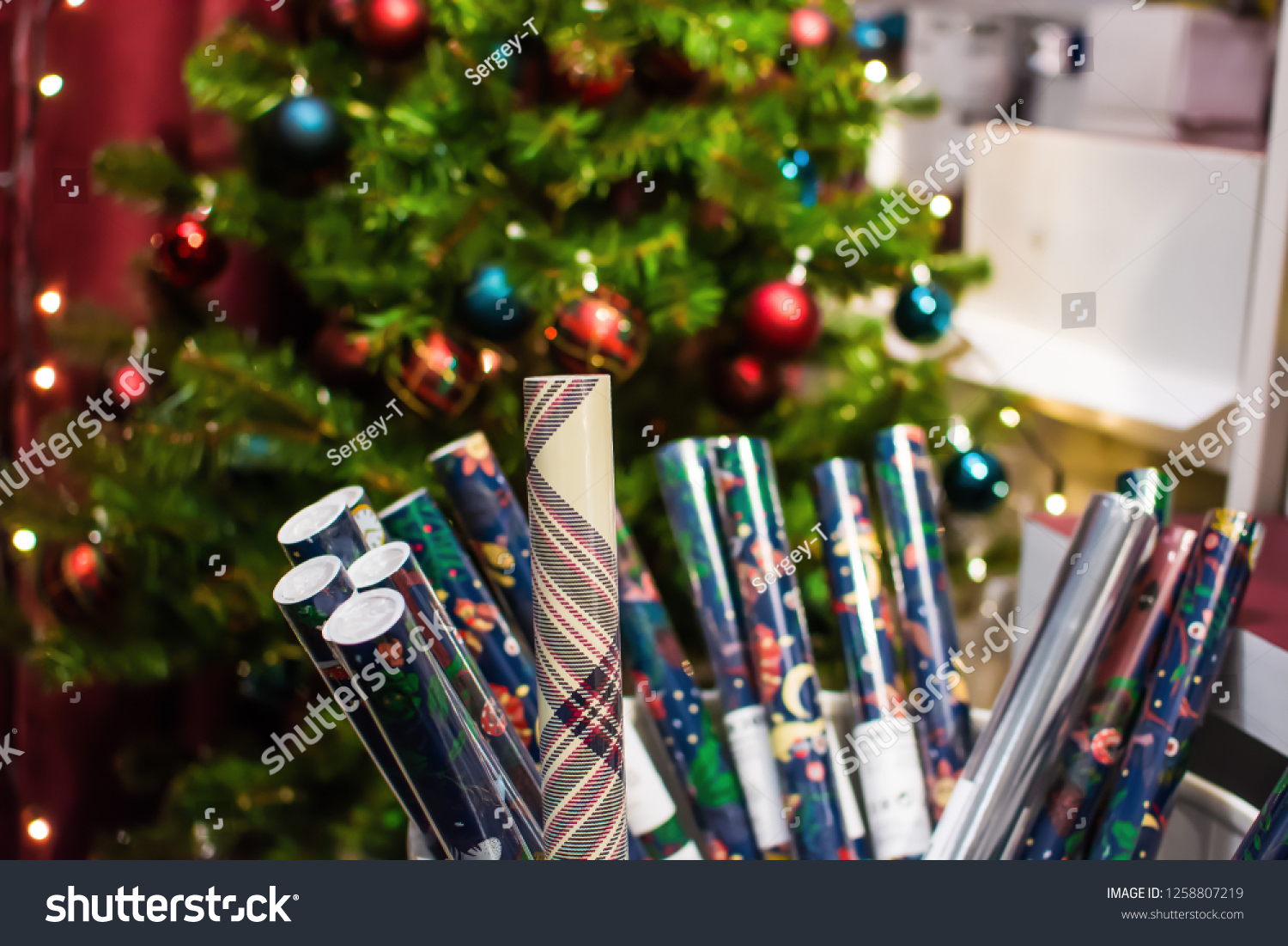 Wrapping Paper Foreground Christmas Tree On Stock Photo Edit Now 1258807219