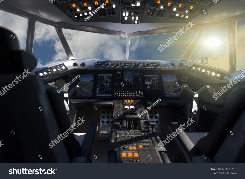 3d Illustration Cockpit Aircrafts Inside Stock Illustration 1258856569