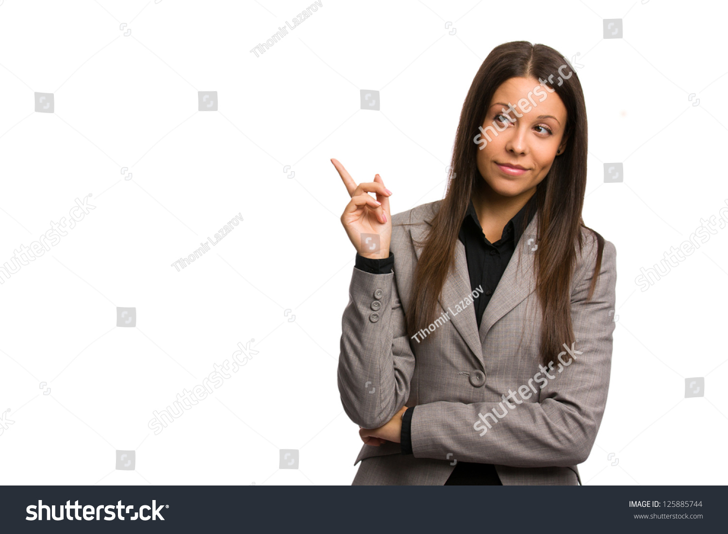 Business Woman Pointing Aside Critical Look Stock Photo ...