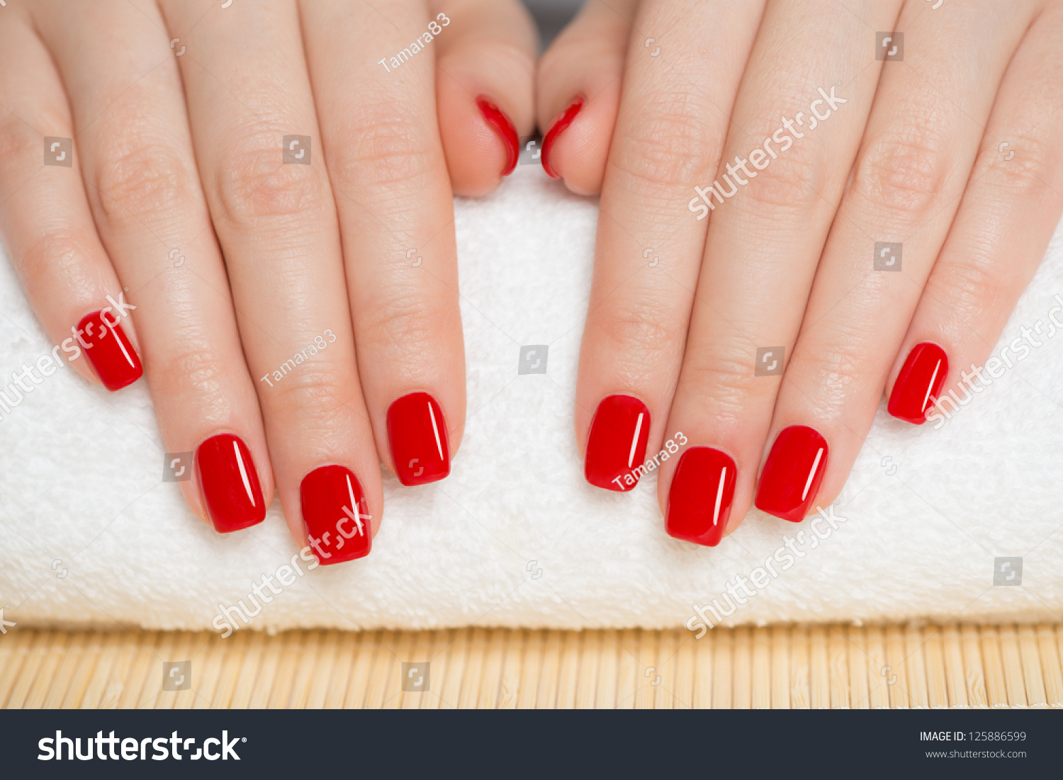Manicure Nice Manicured Woman Nails Red Stock Photo (Download Now ...