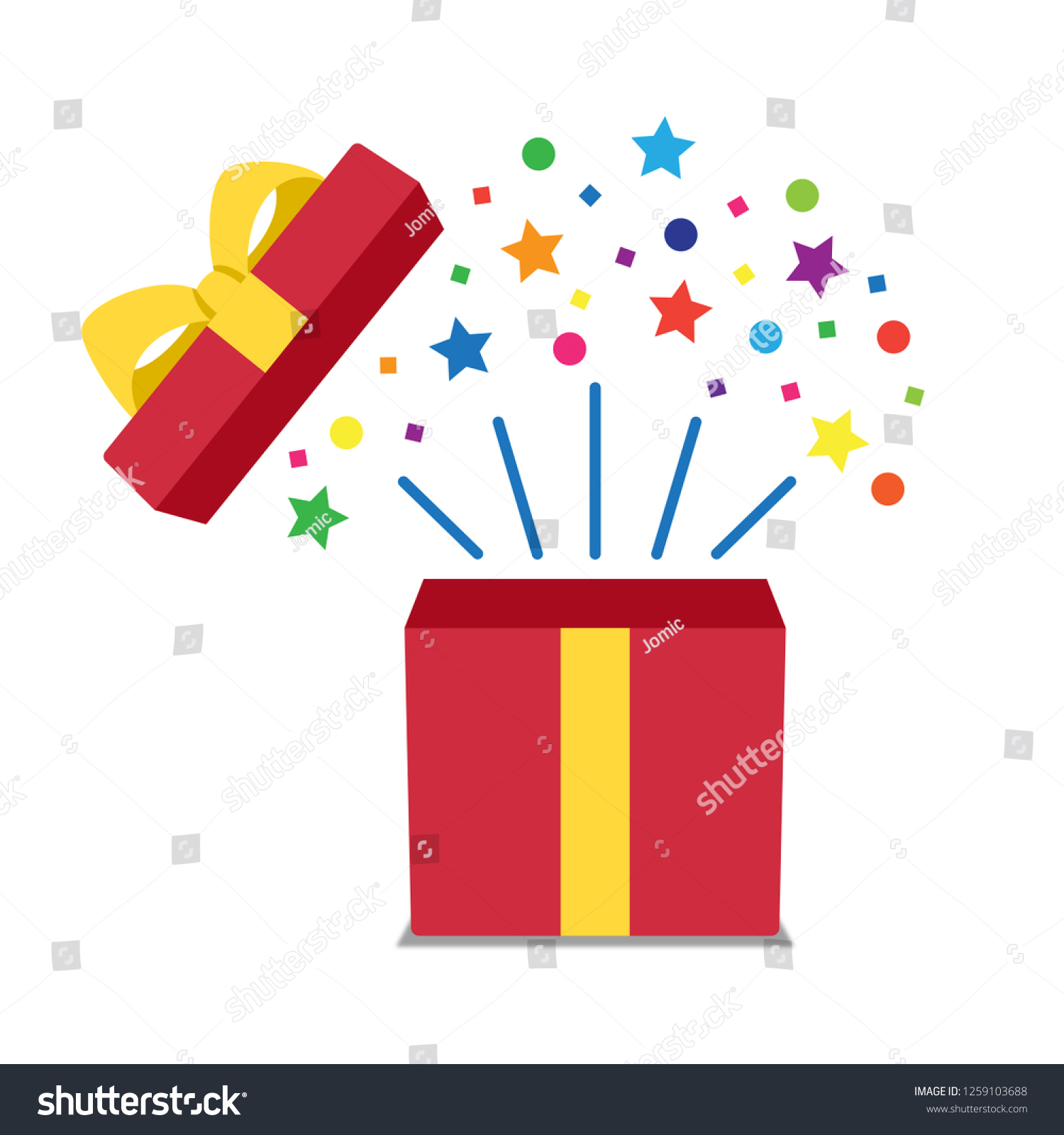 Vector Open Gift Box Icon Simple Stock Vector Royalty Free 1259103688