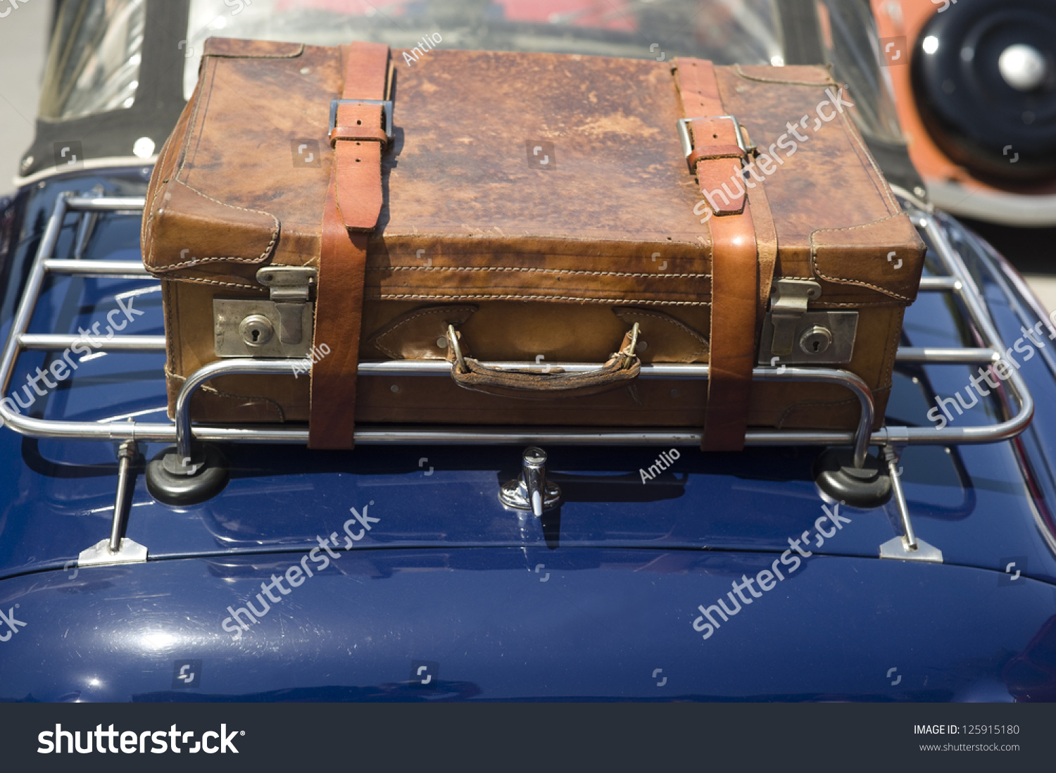 Luggage Rack Suitcase Rear Luggage Rack Stock Photo 125915180 ...