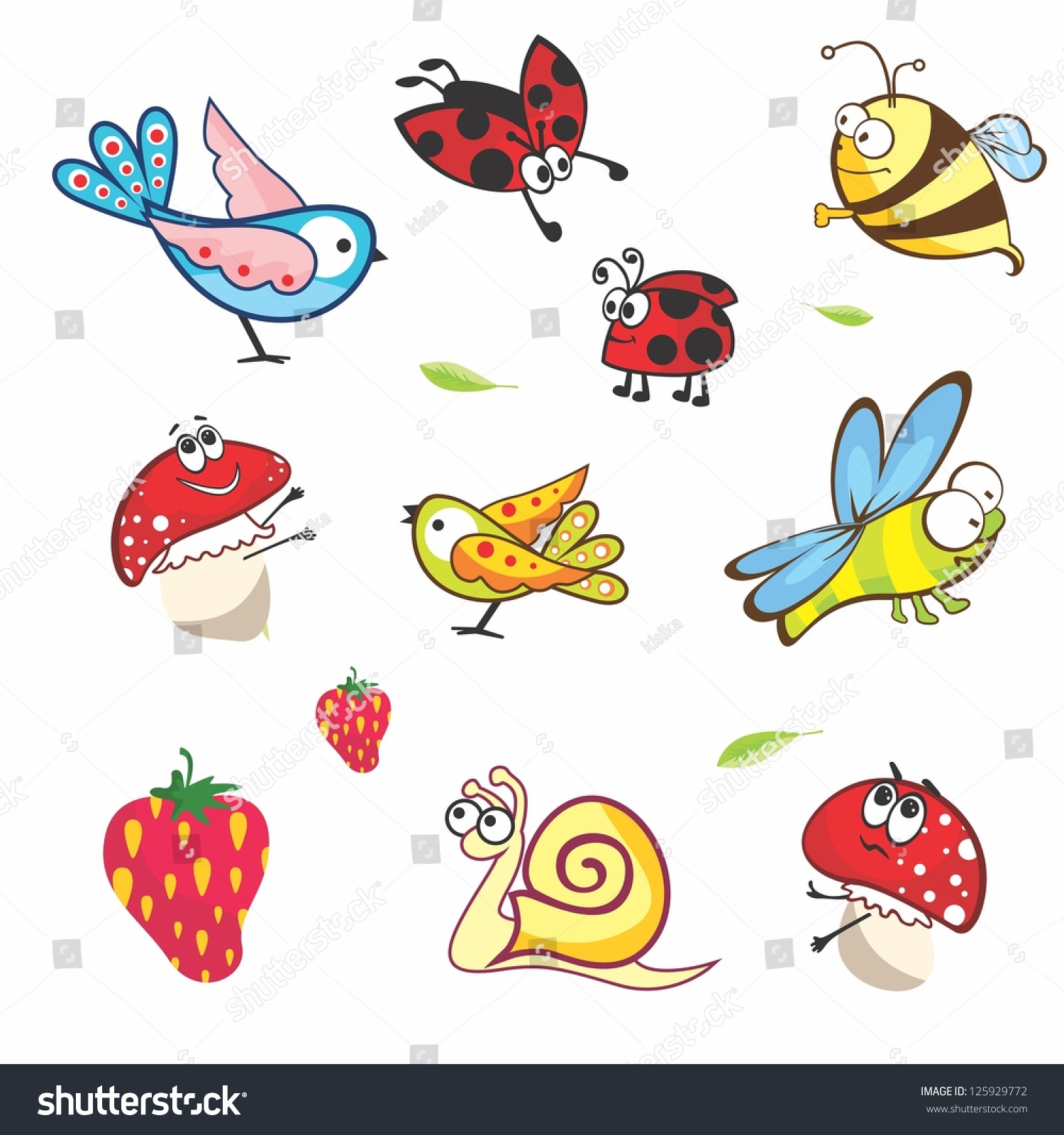Set of funny spring animals for babies Vector insects on white background