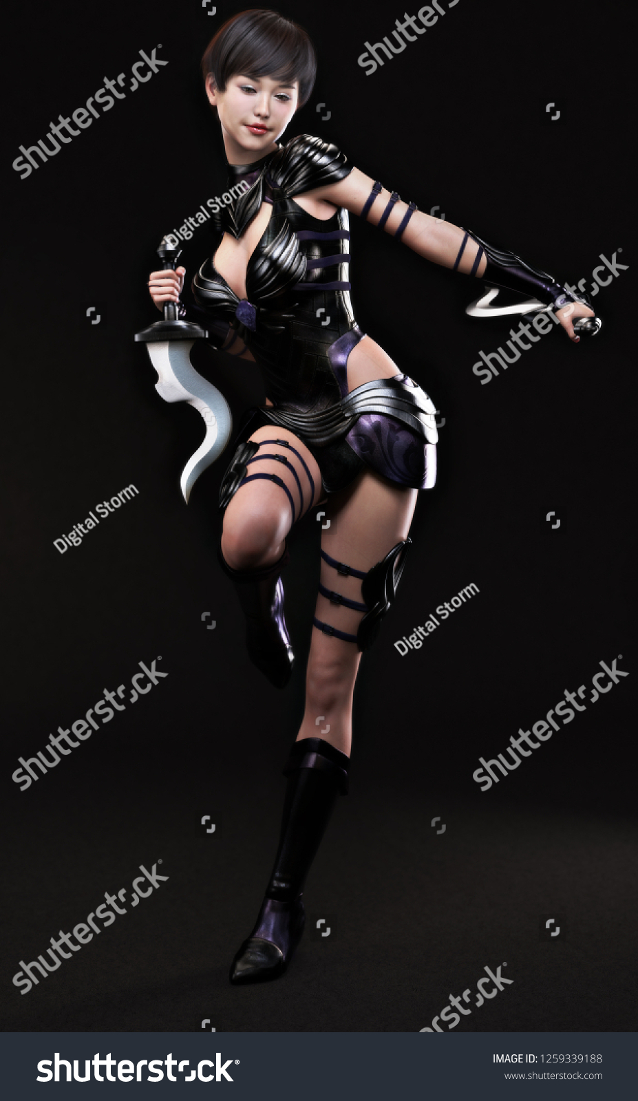 Asian female posing in an oriental warrior cosplay costume on a dark  background. 3d rendering