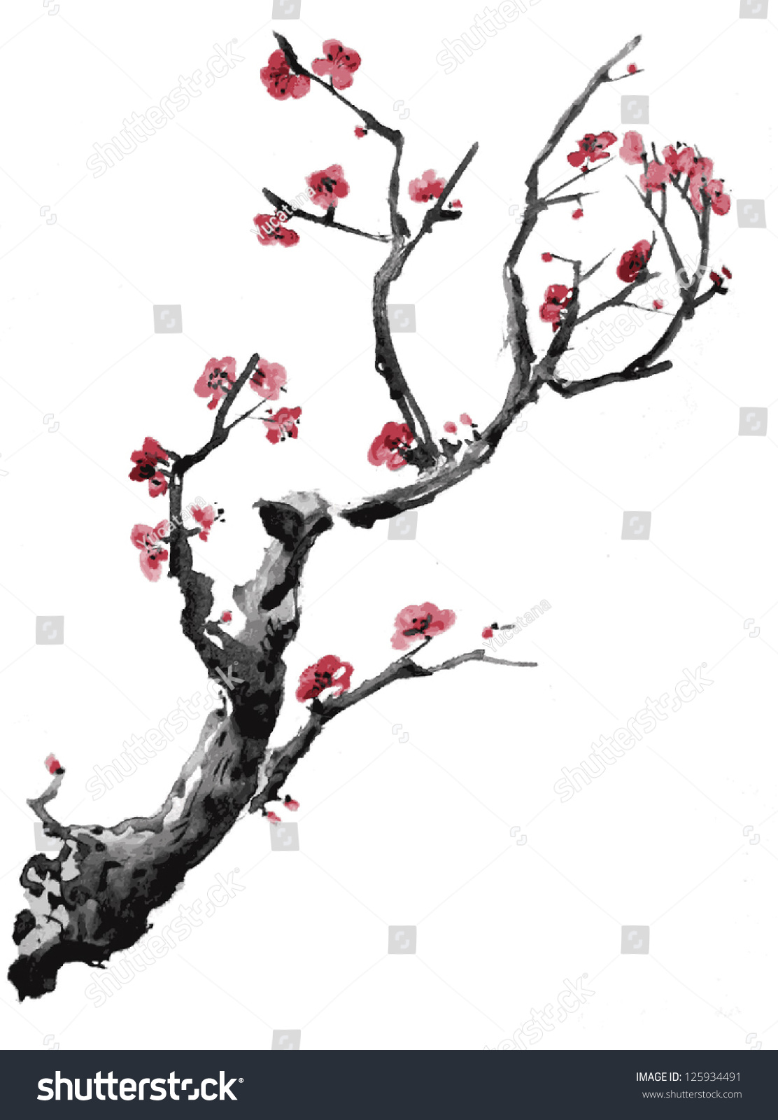 how to draw a realistic cherry blossom tree