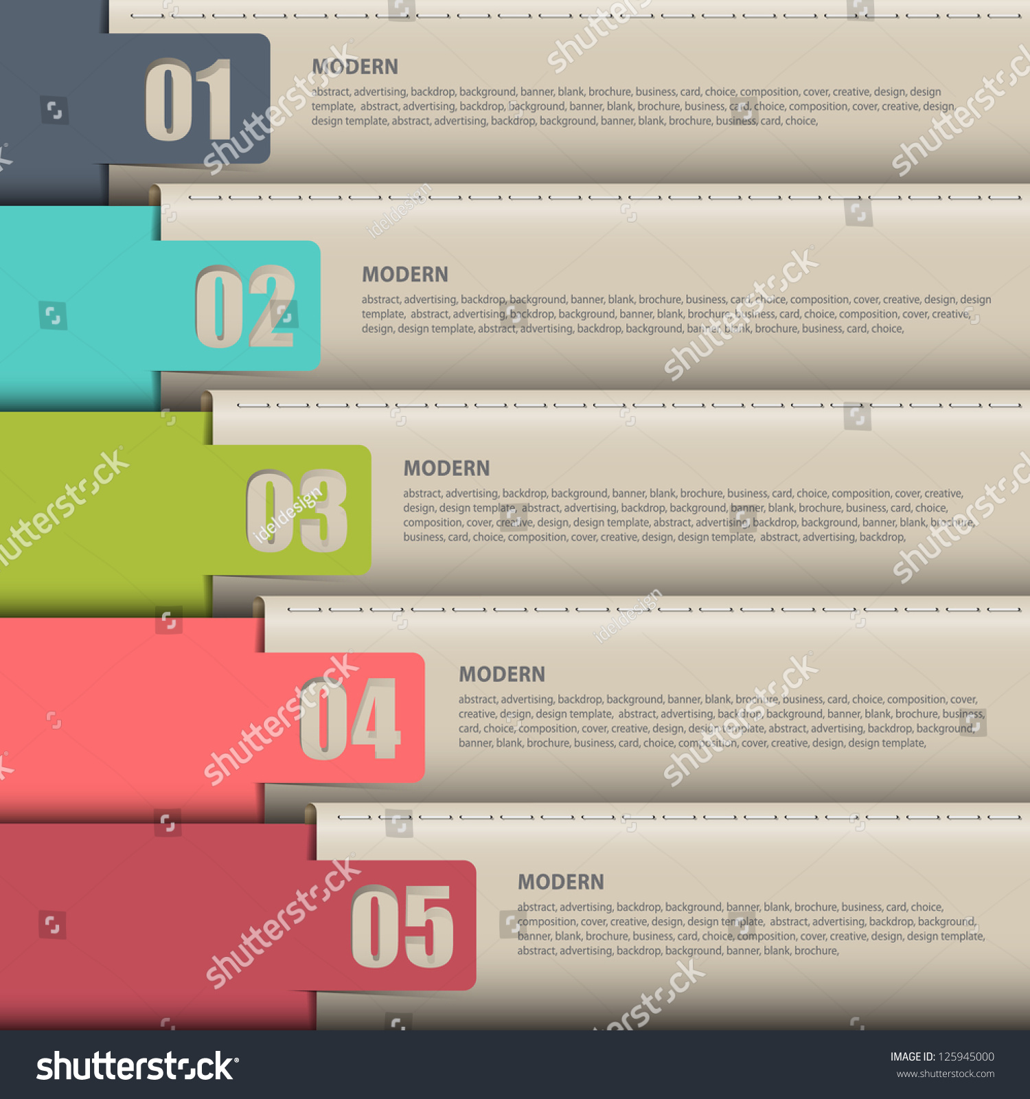 Vector Paper Numbered Leather Bannersdesign Template Stock Vector ...