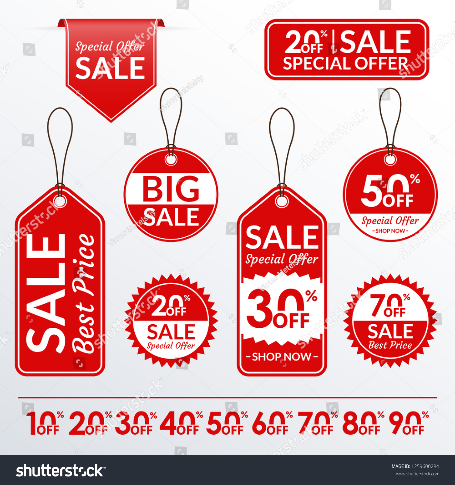 Price tag set. Sale and discount labels collection. Price off stickers. Vector illustration. #1259600284