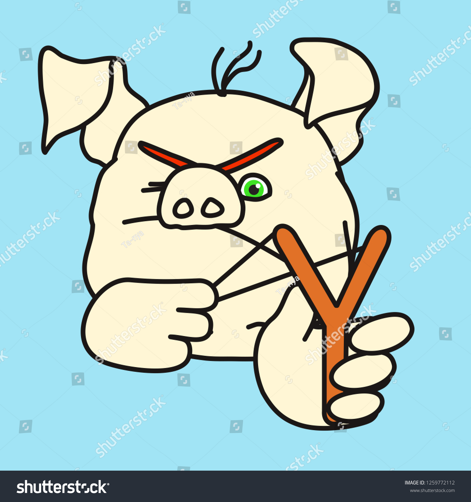 Emoticon Emoji Angry Kid Fat Pig Stock Vector Royalty Free 1259772112