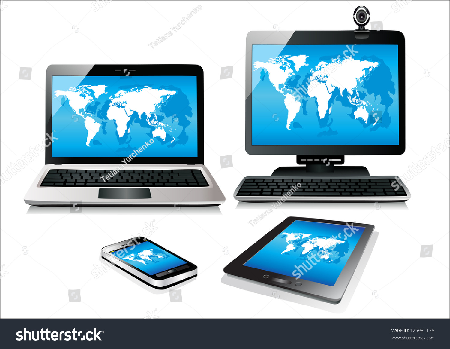 Mobile phone tablet pc notebook computer vector de stock125981138 mobile phone tablet pc notebook and computer world map vector gumiabroncs Gallery