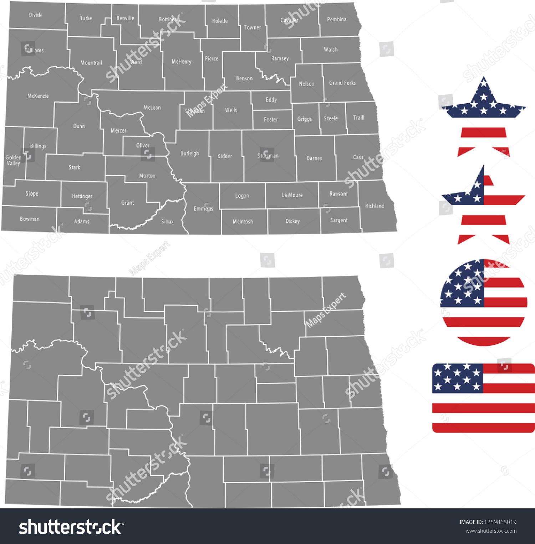 North Dakota County Map Vector Outline Stock Vector (Royalty Free ...