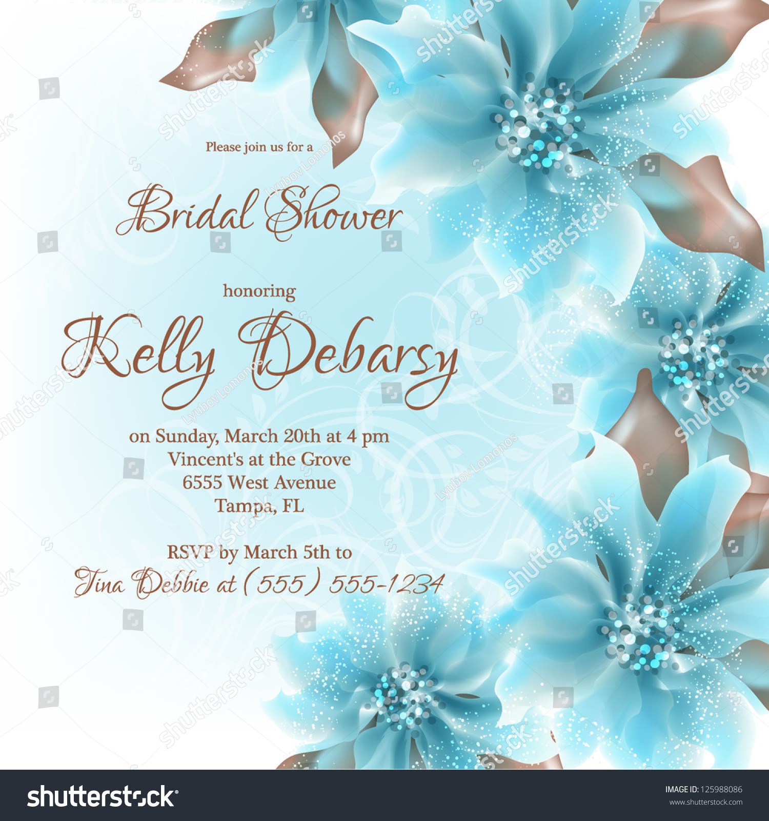 Invitation Wedding Card Abstract Floral Background Vector de ...