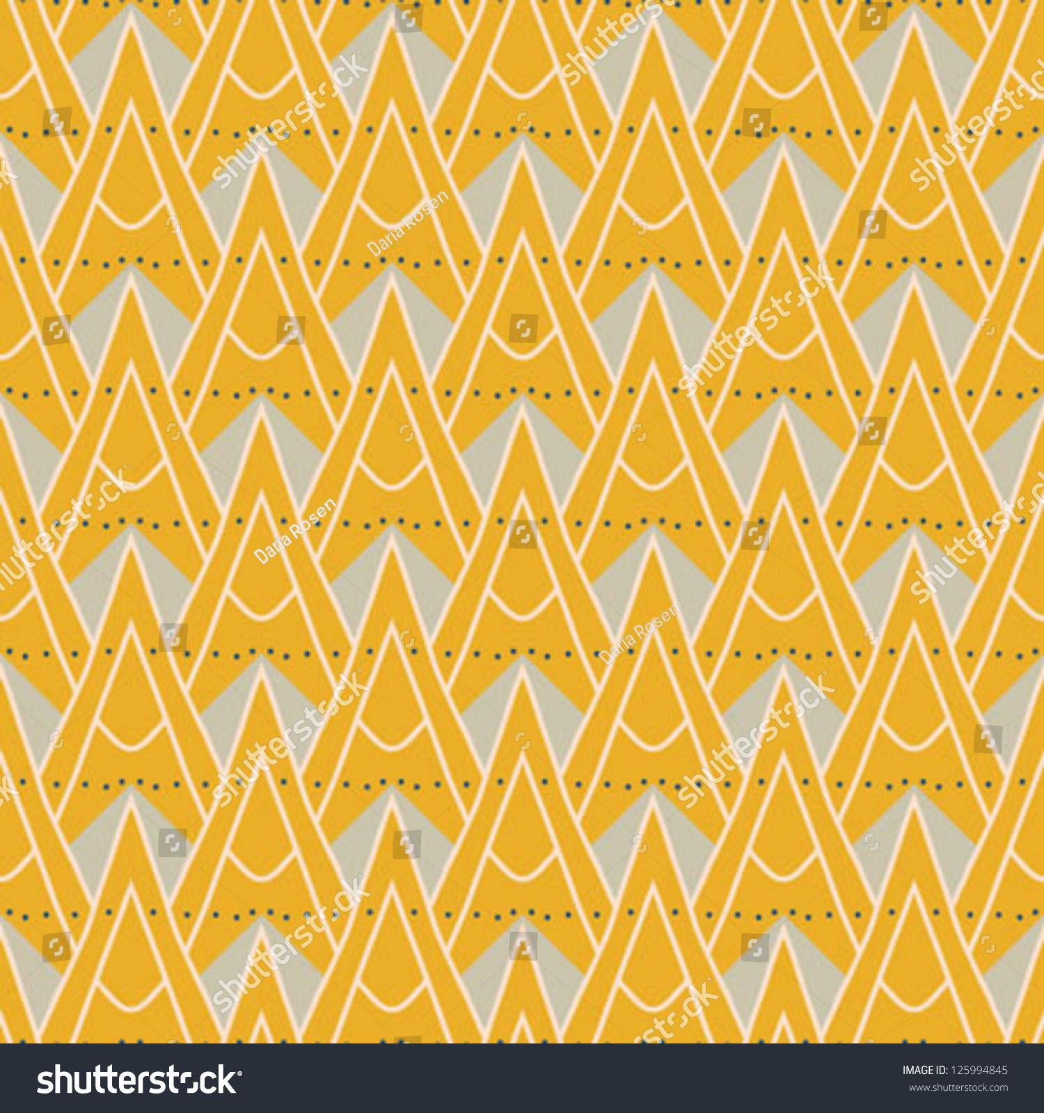 1930s Geometric Art Deco Pattern Mustard Stock Vector