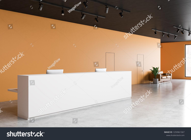 White Reception Desk Standing Modern Office Stock Illustration 1259961367