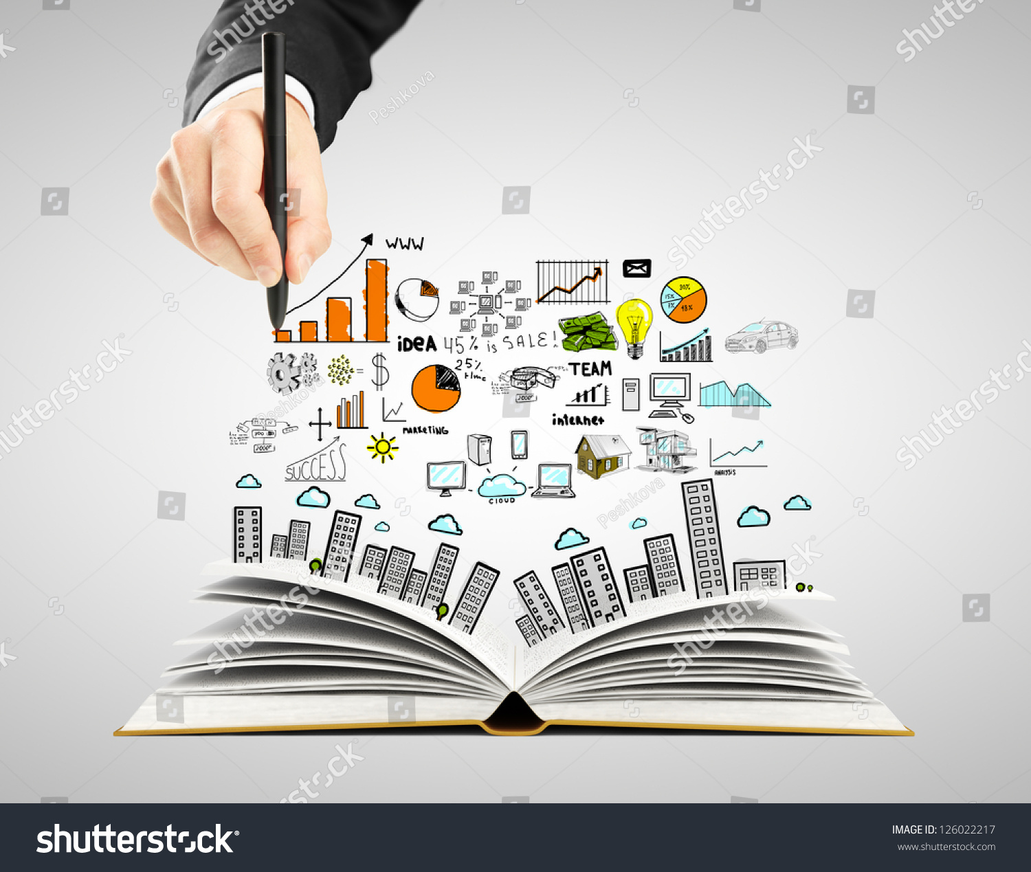 Hand Drawing Business Concept Open Book Stock Photo 126022217 ...