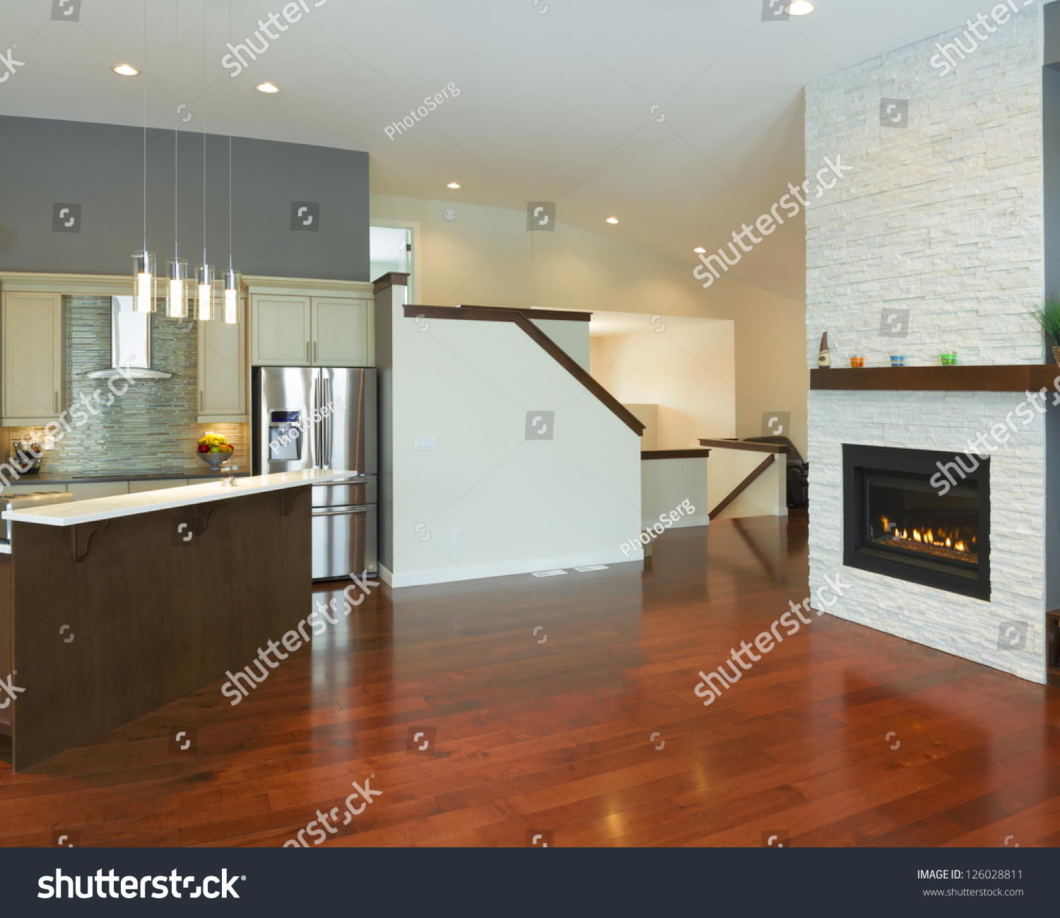 New House Kitchen Designs Interior Kitchen Design With Fireplace In A New House Stock Photo