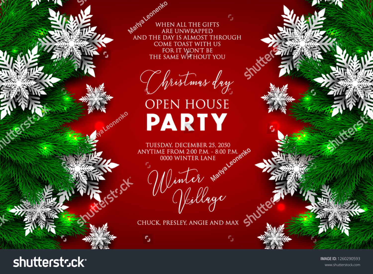 Christmas Party Invitation Greeting Card Paper Stock Vector (Royalty Free)  1260290593