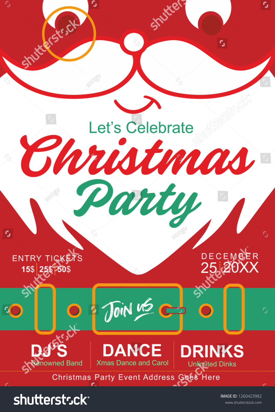 Christmas Party Invite Template Secret Santa Stock Vector Royalty Free 1260423982