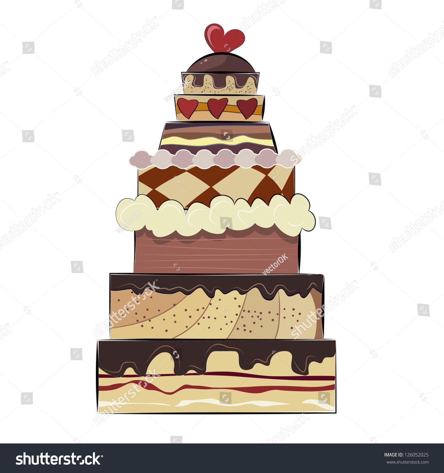 Big Birthday Cake Stock Vector 126052025 Shutterstock