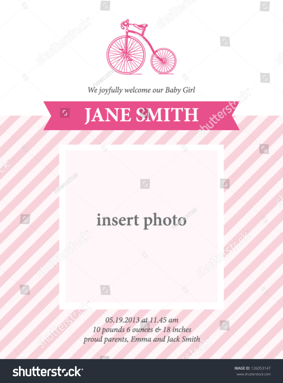 Baby Girl Birth Announcement Card Template Vector 126053147 – Birth Announcement Card Templates