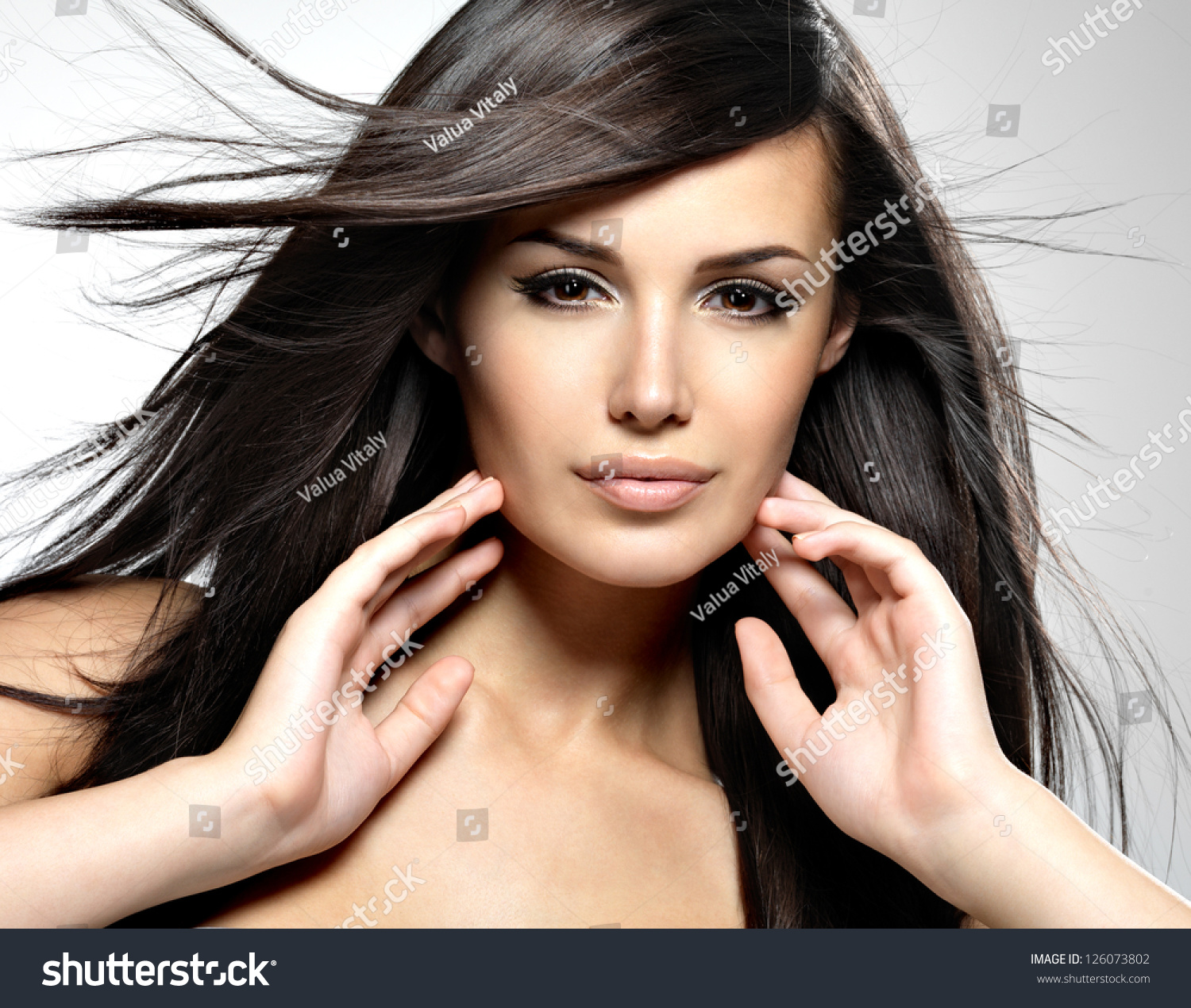 beautiful woman long brown hair closeup stock photo 126073802 shutterstock. Black Bedroom Furniture Sets. Home Design Ideas