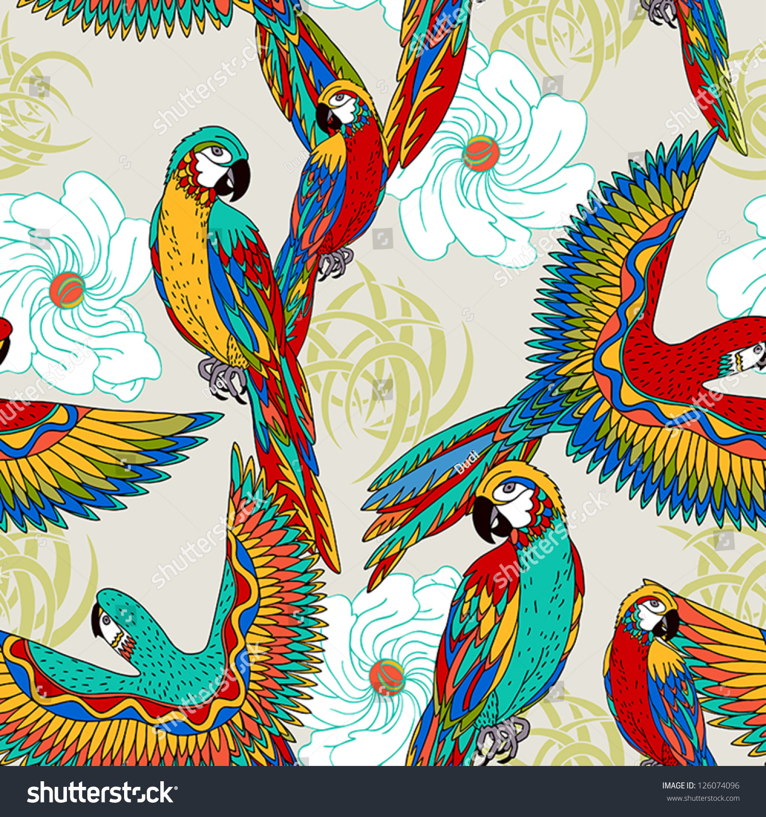 Vintage Beach Background Stock Photo 112981333: Vintage Colorful Background Parrots Theme Exotic Stock