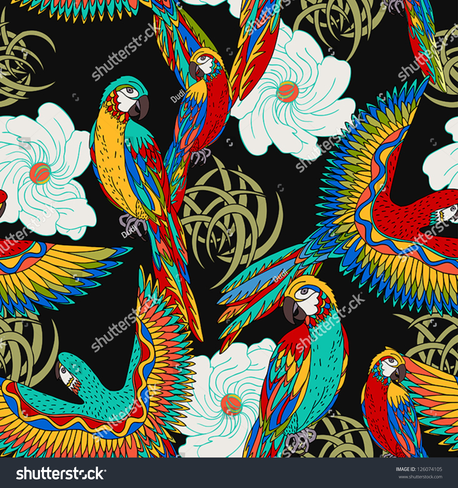 Vintage Beach Background Stock Photo 112981333: Vintage, Colorful Background With Parrots, Theme And