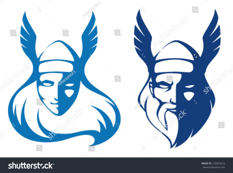 line illustrations characters scandinavian mythology valkyrie stock vector 126074216 shutterstock viking hat clipart Viking Helmet Vector