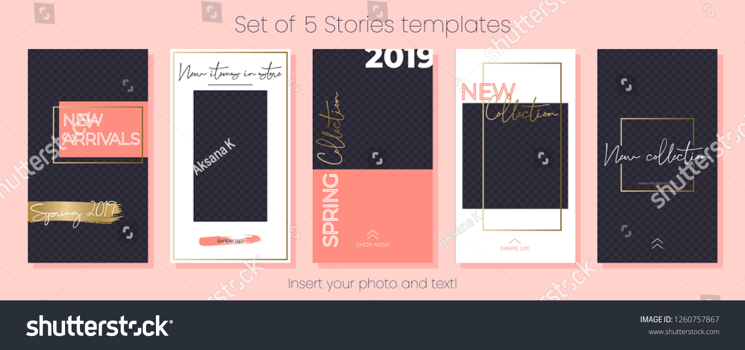 9b27ce64f3d Editable Instagram Stories vector template pack. Spring Collection 2019.  Set of social media frames