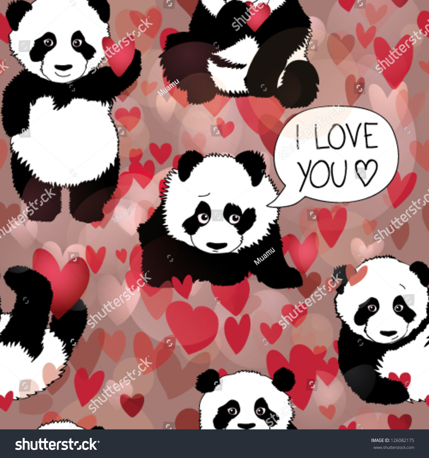 Seamless Vector Pattern With Panda In int ValentineS Day