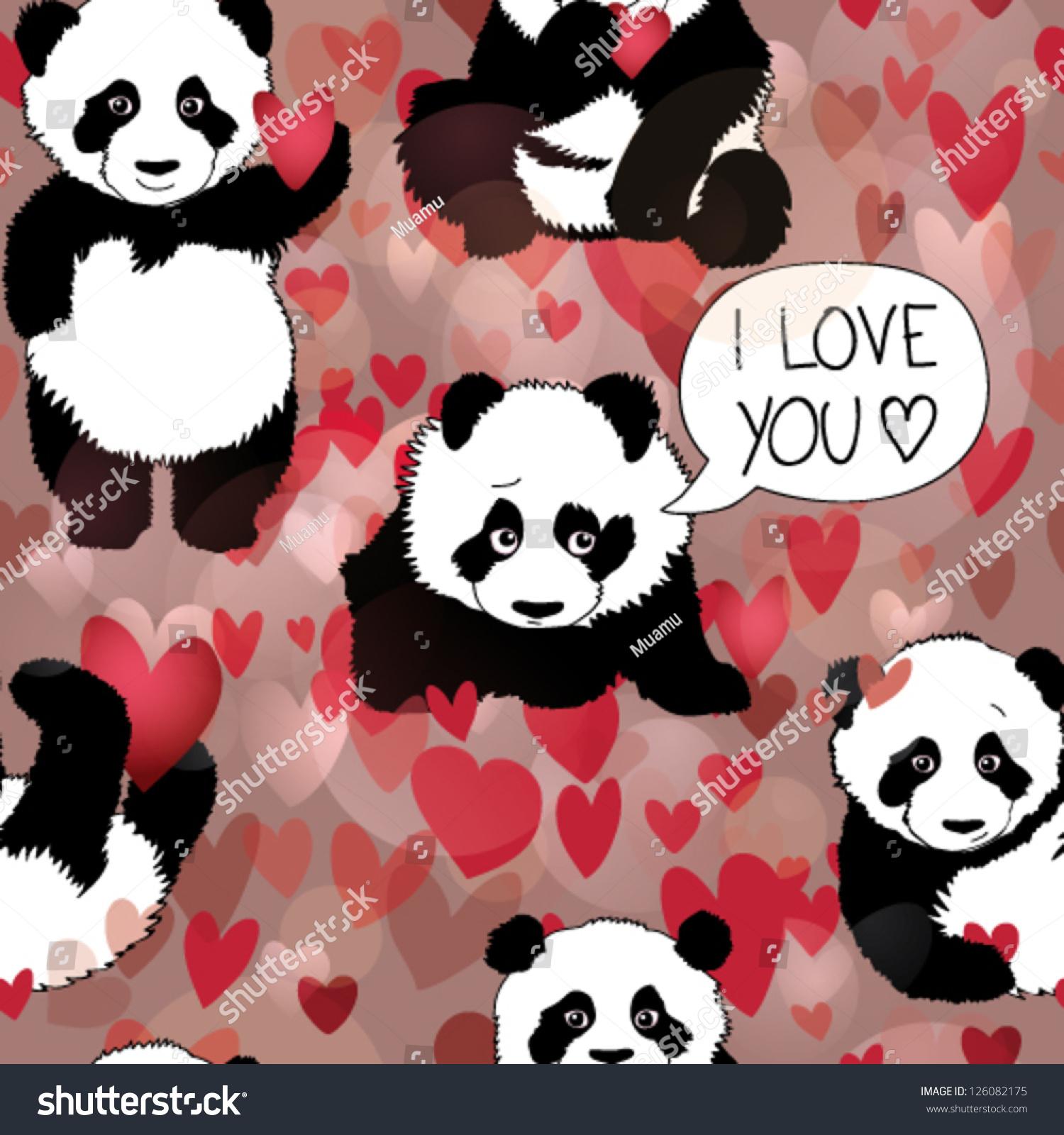 Cute Panda Falls Love Romantic Seamless Stock Vector Royalty Free