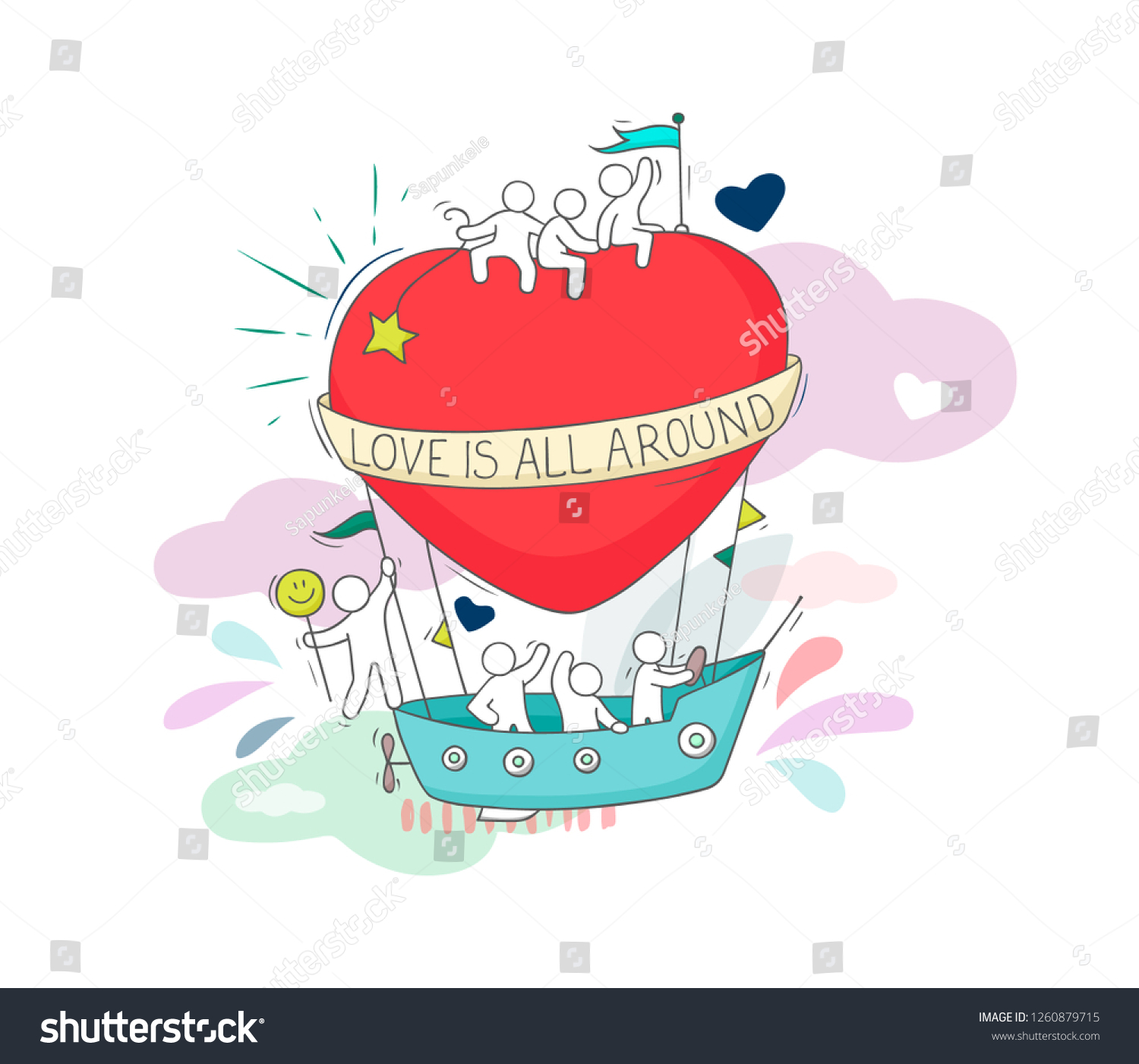 Sketch of fly big heart with cute little people doodle cute miniature romantic scene about