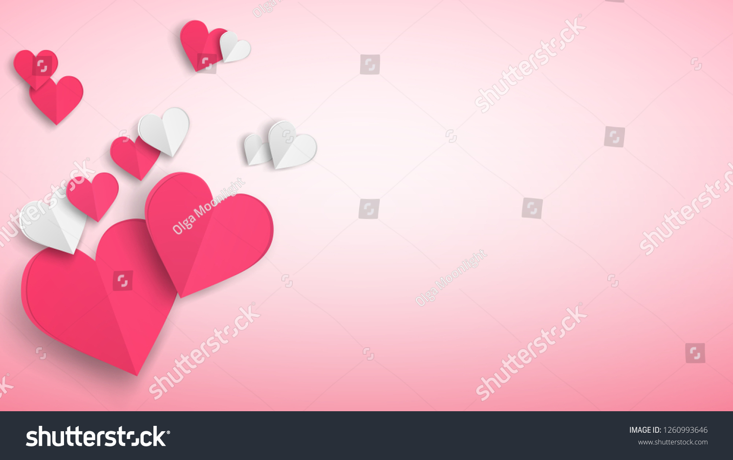 Background with several paper volume hearts, red and white on pink #1260993646