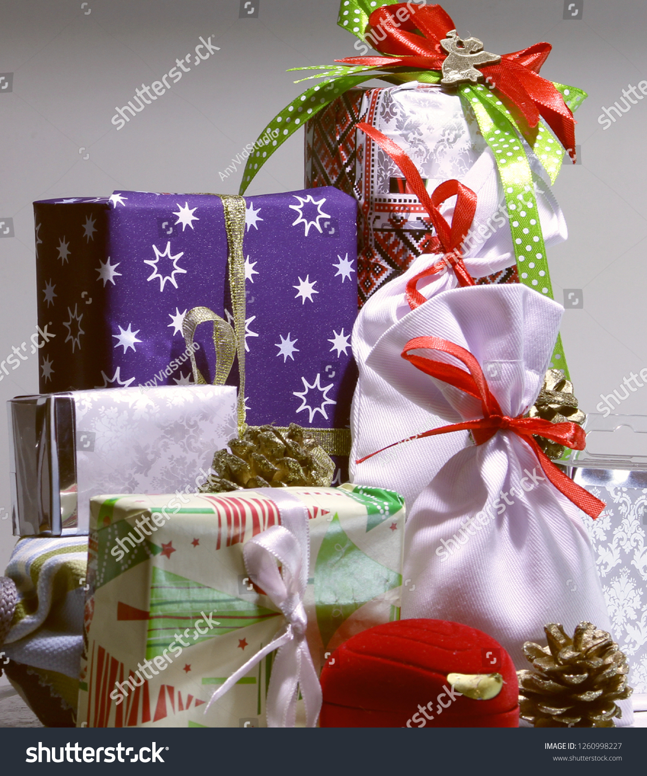 Variety Christmas Gift Wrapping Decoration Ideas Stock Photo Edit