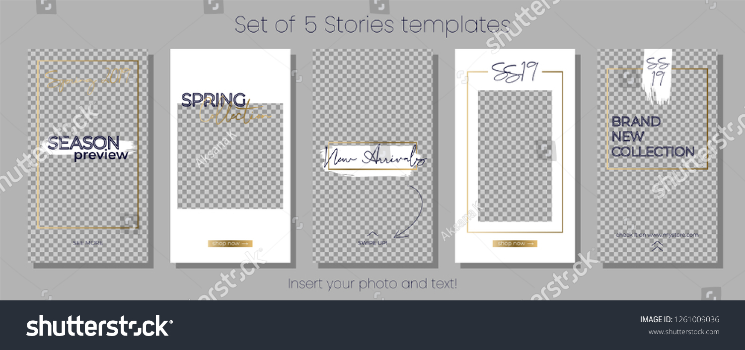 ce33f6c6c25 Editable Instagram Stories vector template pack. Spring 2019 social media  frames. White and gold