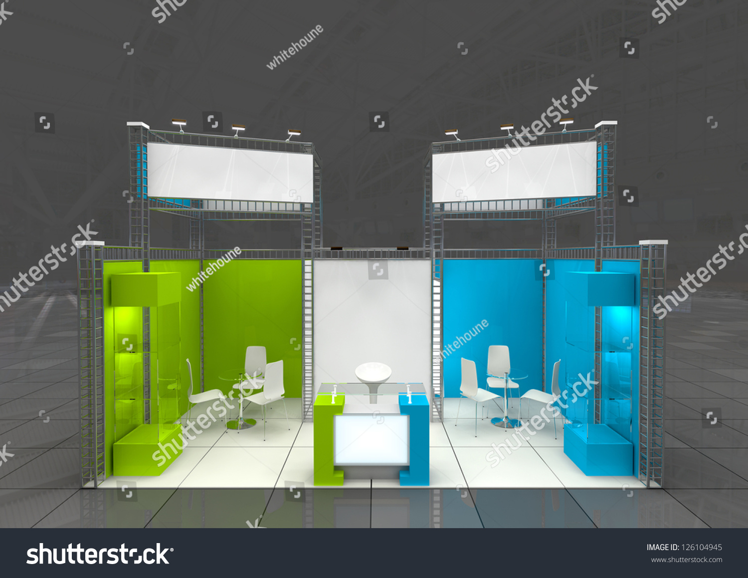 Modern Exhibition Stand Vector : Modern exhibition stand blank banners stock illustration