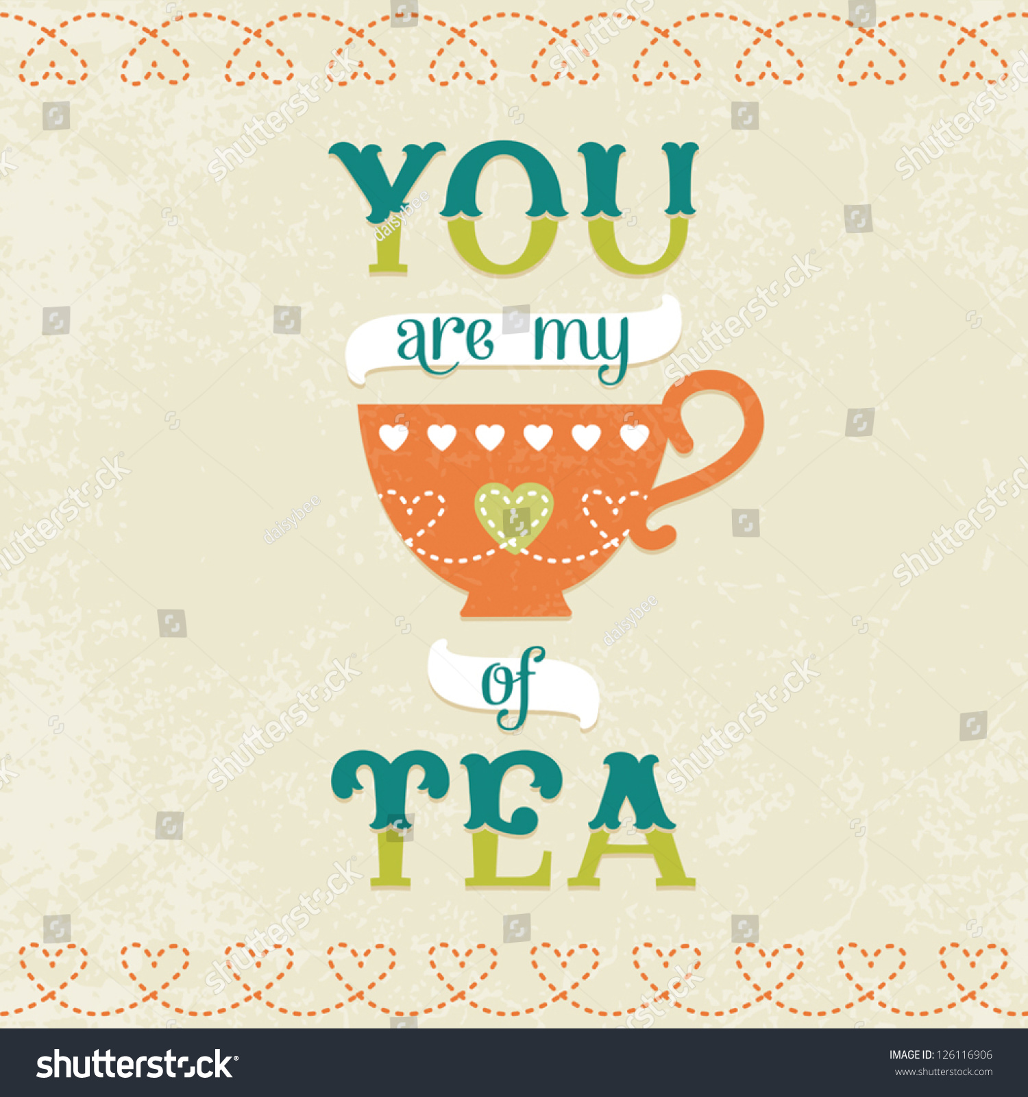 Vector Love Card Poster Tea Cup Stock Vector 126116906