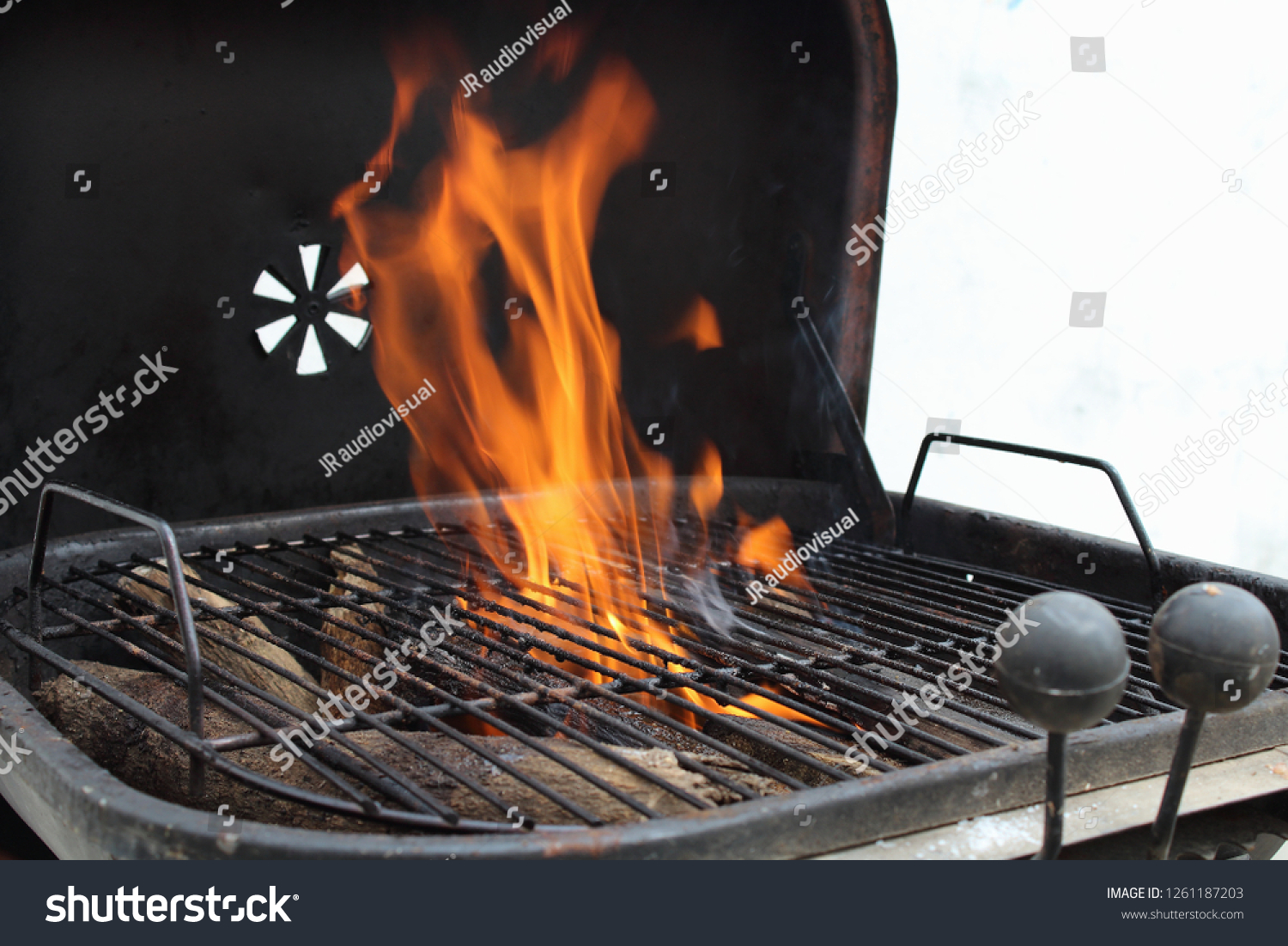 Charcoal Grill Roasting Smoking Meat During Stock Photo Edit Now 1261187203