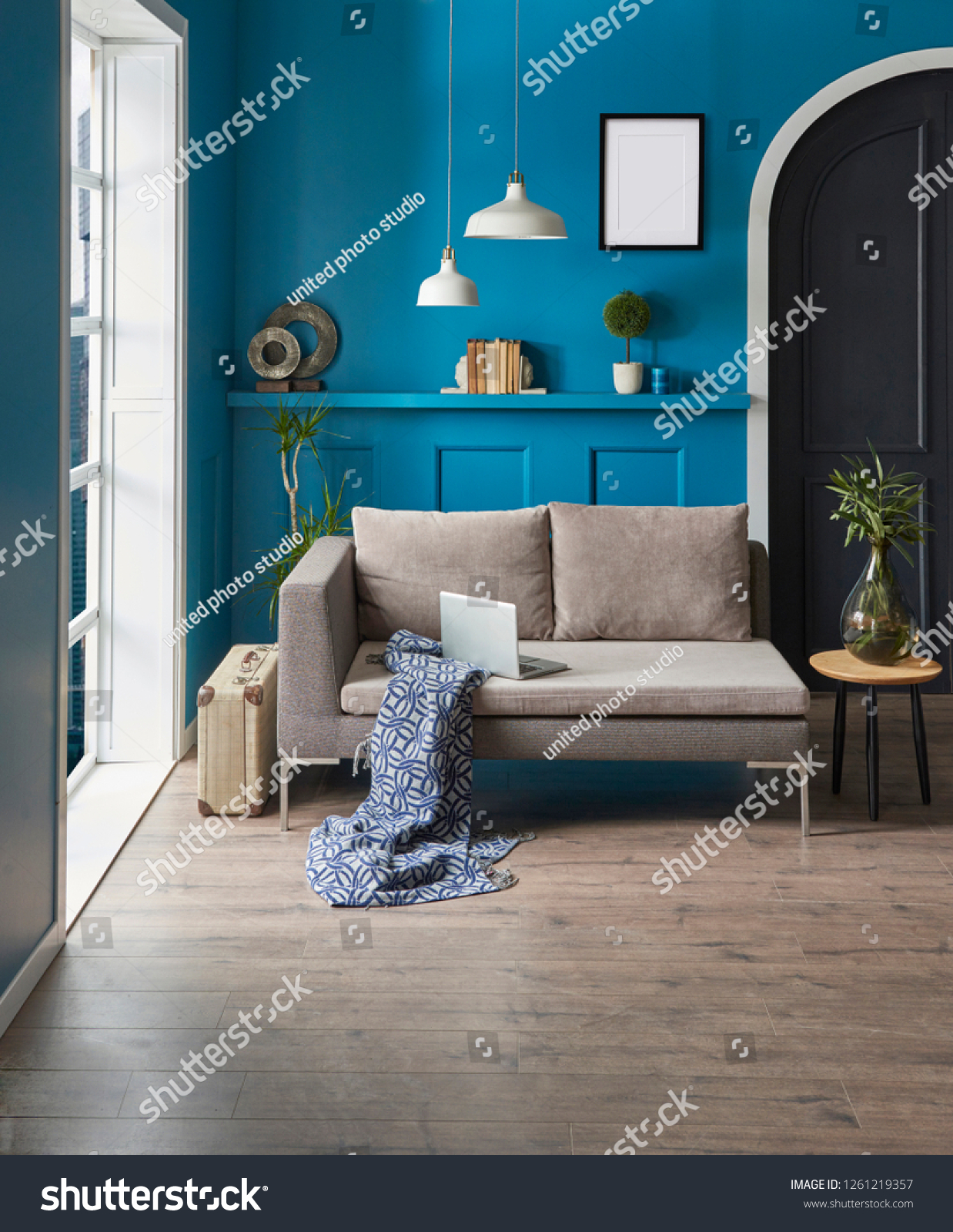 Excellent Room Interior Blue Wall Classic Pattern Stock Photo Edit Evergreenethics Interior Chair Design Evergreenethicsorg